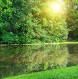 夏天公园和河 库存图片