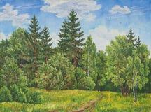 夏天农村风景在俄罗斯 领域和森林,一棵高草 抽象画布五颜六色的用花装饰的油原始绘画 库存照片