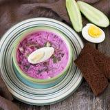夏天冷的汤用甜菜、黄瓜、牛乳气酒和鸡蛋 免版税库存照片