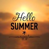 夏天卡片有海边背景 免版税库存照片