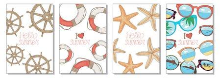 夏天卡片的汇集在海题材的 海星,方向盘、太阳镜和保险索 ?? 向量例证