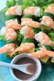 夏天卷,沙拉卷,新鲜的春卷,越南食物 库存图片