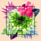 夏天口号 时髦花卉图案 库存照片