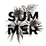 夏天口号 黑白花卉图案 免版税库存照片