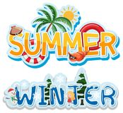 夏天和冬天横幅 库存例证