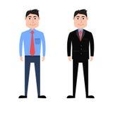 夏天和冬天正式事务的动画片人穿戴 向量例证