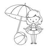 夏天和孩子动画片在黑白 库存例证