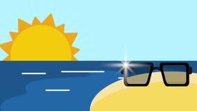 夏天和海滩HD定义 皇族释放例证