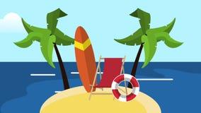 夏天和海滩HD定义 向量例证