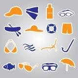 夏天和海滩贴纸eps10 免版税库存图片