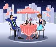 夏天咖啡馆的端庄的妇女 也约会我浪漫看到相似的工作的画廊 相互感觉 耦合爱 被限制的日重点例证s二华伦泰向量 向量 免版税库存图片