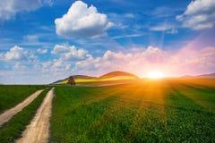 夏天喀尔巴阡山脉的风景 库存图片