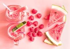 夏天喝概念 西瓜切片、莓和圆滑的人在金属螺盖玻璃瓶在桃红色时尚背景顶视图 创造性的位置 库存图片