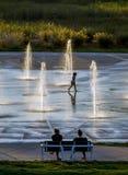 夏天喷泉的末端 库存图片