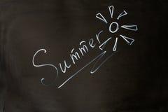 夏天在委员会的白垩题字 免版税图库摄影