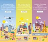 夏天在平的样式的旅行横幅 在平的样式设置的装饰垂直的模板 旅行在假期的时候乘飞机,公共汽车 库存照片