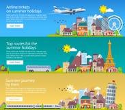 夏天在平的样式的旅行横幅 旅行在假期的时候乘飞机、公共汽车和火车 旅行向英国、意大利和法国 T 免版税库存图片