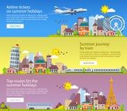夏天在平的样式的旅行横幅 旅行在假期的时候乘飞机、公共汽车和火车 旅行向英国、意大利和法国 d 免版税库存照片