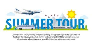 夏天在平的样式的旅行横幅 旅行在假期的时候乘飞机、火车和公共汽车 做广告,广告和网的模板 免版税库存照片