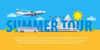 夏天在平的样式的旅行横幅 旅行在假期的时候乘飞机、火车和公共汽车 做广告,广告和网的模板 库存图片