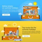 夏天在平的样式的旅行横幅 旅行在vacati的时候 免版税图库摄影