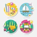 夏天在平的设计设置的旅行象 免版税图库摄影