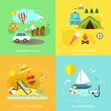 夏天在平的设计设置的旅行象 库存照片