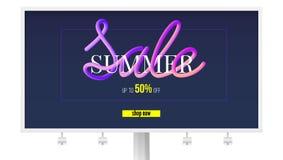 夏天在广告牌的销售横幅 现在起来到百分之五十,商店 正文消息设计在纸裁减和颜色的 皇族释放例证