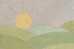 夏天在沙子的风景图画 库存照片