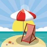 夏天在海滨的海滩设计与沙滩伞和椅子 夏天背景 向量例证