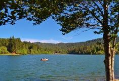 夏天在湖的下午划船 免版税库存图片