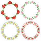 夏天在装饰框架-传染媒介圆的装饰的花大丽花 库存例证