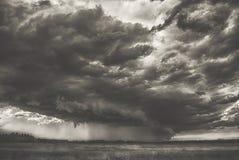 夏天在领域小山和森林大鬼的可怕重的多雨云彩的风暴旋风在谷黑白摄影 库存图片
