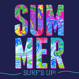 夏天在水彩样式上写字 库存图片