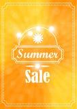 夏天在黄色背景的销售横幅 库存图片