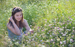 夏天域的女孩 图库摄影