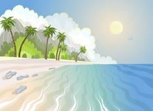夏天天堂在海滨的海滩和棕榈树 向量例证