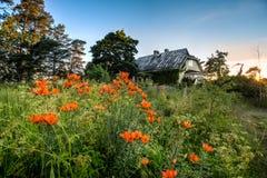 夏天太阳集合的离开的房子 免版税库存图片