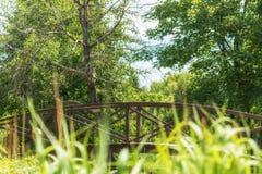 夏天小径在有一座桥梁的城市公园在一个晴天 库存图片