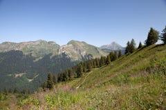 夏天山在法国阿尔卑斯 库存图片