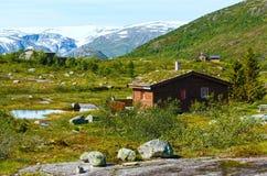 夏天山的(挪威)木房子 图库摄影