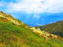 夏天山风景全景 库存照片
