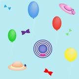 夏天帽子和气球,无缝的样式,例证 免版税图库摄影