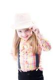 夏天帽子的女孩 免版税库存照片