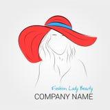 夏天帽子的现代妇女 图库摄影
