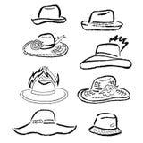 夏天帽子,盖帽被概述的模板集合 免版税库存照片