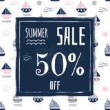 夏天广告和小册子的销售横幅 库存例证