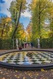 夏天庭院在圣彼德堡 库存照片