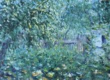 夏天庭院,树,篱芭 库存图片