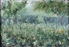 夏天庭院,绿叶,篱芭,树暴乱  库存图片